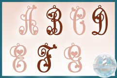 Monogram Initials Hearts Earring Bundle Faux Leather Jewelry Product Image 3