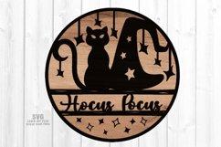 Hocus Pocus Round Sign SVG Glowforge Halloween Laser Files Product Image 1