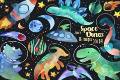 Watercolor Space Dinosaurs Clipart Product Image 1