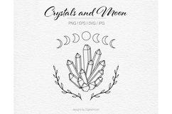 Crystal svg Lunar phases Floral svg Moon vector Product Image 1