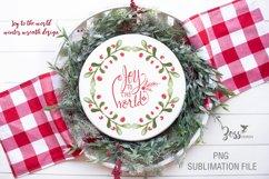 Joy to the world green Christmas wreath sublimation design Product Image 1