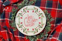 Joy to the world green Christmas wreath sublimation design Product Image 2