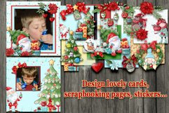 Christmas Scrapbooking Kit with Papers and Element Clusters Product Image 4