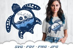 Beach Vibes Sea Turtle SVG Cut Files Product Image 1