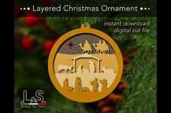 Layered Nativity Christmas tree ornament