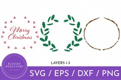 Layered Merry Christmas SVG Design - Holly Wreath Cut File