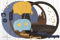 Monogram Happy Campers Sign SVG Glowforge Laser Cut Files Product Image 2