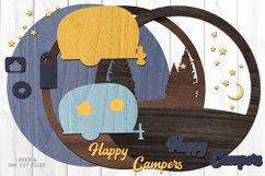 Happy Campers Monogram Camper Sign SVG Glowforge Laser Files Product Image 2