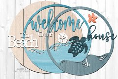 Shiplap Beach House Round Turtle Sign SVG Glowforge Files Product Image 4