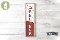 Vertical Christmas Sign, Believe SVG, Reindeer SVG Product Image 1
