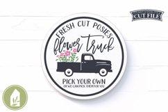 Fresh Flower Truck SVG, Round Sign SVG, Summer SVG Product Image 1