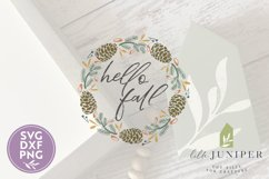 Hello Fall SVG, Pinecone Wreath SVG, Round Autumn Sign SVG Product Image 2