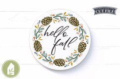 Hello Fall SVG, Pinecone Wreath SVG, Round Autumn Sign SVG Product Image 1