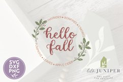 Hello Fall, Round Fall Sign, Fall Sign SVG, Autumn Leaf SVG Product Image 2