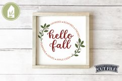 Hello Fall, Round Fall Sign, Fall Sign SVG, Autumn Leaf SVG Product Image 1