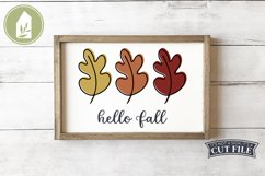 Hello Fall Leaves, Fall Sign SVG, Autumn Leaf SVG Product Image 1