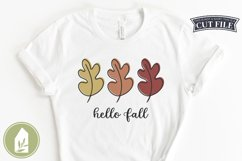 Hello Fall Leaves, Fall Sign SVG, Autumn Leaf SVG Product Image 3