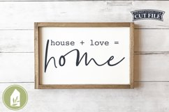 House Plus Love Equals Home SVG, Farmhouse SVG Product Image 1