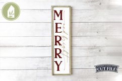 Merry and Bright, Vertical Christmas Sign, Christmas SVG Product Image 1