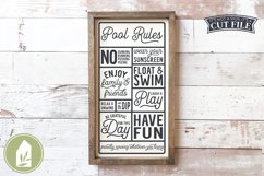 Pool Rules SVG, Wood Sign SVG, Summer SVG Product Image 1