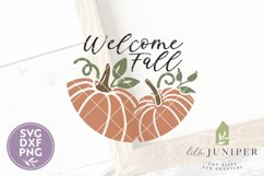 Welcome Fall SVG, Pumpkin SVG, Round Sign, Pumpkin Sign Product Image 2