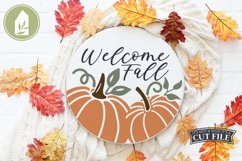Welcome Fall SVG, Pumpkin SVG, Round Sign, Pumpkin Sign Product Image 3