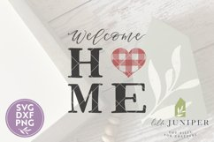 Welcome Home SVG, Buffalo Plaid Heart SVG Product Image 2