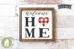 Welcome Home SVG, Buffalo Plaid Heart SVG Product Image 1