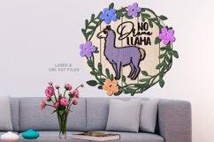 Llama Floral Shiplap Round Sign SVG Glowforge Laser Files Product Image 2