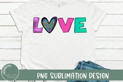 Leopard heart with bright and colorful letters that spell out love