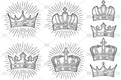 Four different king crowns. Engraving vintage color vector Product Image 1