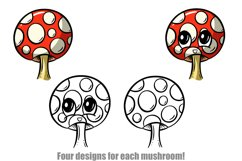 Toadstools and Mushrooms Cartoon Characters and Designs Product Image 5