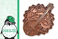Mandolin SVG layered mandala music instrument 3D bluegrass Product Image 2