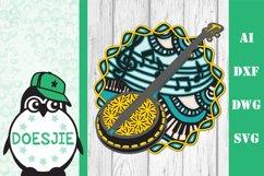 Banjo SVG layered mandala music instrument 3D bluegrass Product Image 2