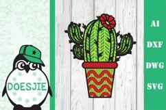 Cactus layered svg file Multi layer mandala cactus flower 3d Product Image 1