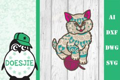 Kitten layered cat mandala SVG multilayer cute cat with wool Product Image 1