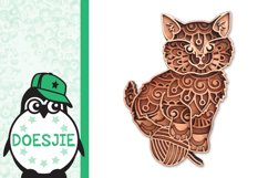 Kitten layered cat mandala SVG multilayer cute cat with wool Product Image 3