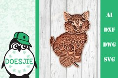 Kitten layered cat mandala SVG multilayer cute cat with wool Product Image 2