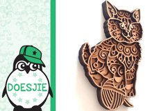 Kitten layered cat mandala SVG multilayer cute cat with wool Product Image 4