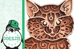 Kitten layered cat mandala SVG multilayer cute cat with wool Product Image 6