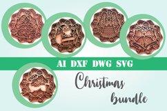 Christmas bundle 5 designs 3d layered mandala xmas svg Product Image 1