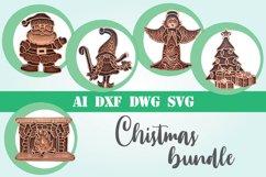 Christmas bundle layered 5 designs 3d mandala zentangle svg Product Image 1