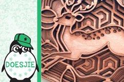 Layered Christmas reindeer svg multi layer mandala 3D Product Image 6
