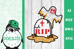 Layered mandala Ghost rip Halloween 3D SVG grave tomb r.i.p. Product Image 1