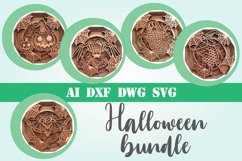 Halloween bundle svg 3d mandala layered 5 designs Product Image 1