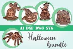 Layered Halloween bundle svg 3d mandala layered 5 designs Product Image 1