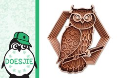 Layered owl mandala svg 3D bird SVG multi layer mandala Product Image 3