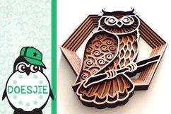 Layered owl mandala svg 3D bird SVG multi layer mandala Product Image 5