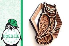 Layered owl mandala svg 3D bird SVG multi layer mandala Product Image 4