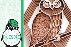 Layered owl mandala svg 3D bird SVG multi layer mandala Product Image 6
